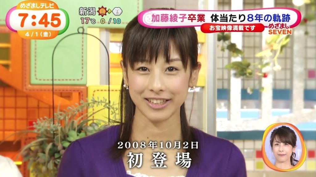 入社当時の加藤綾子アナ