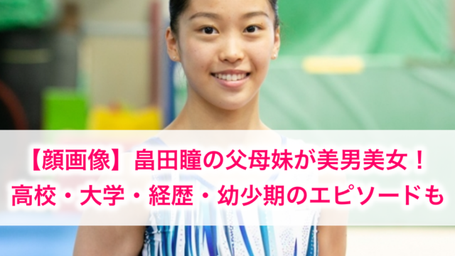 畠田瞳の父母妹と高校大学経歴